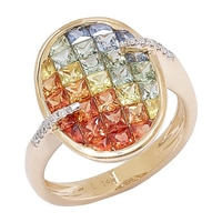 14K Yellow Gold Multi-Sapphire & Diamond Ring