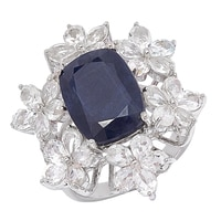 Sterling Silver Blue Sapphire and White Topaz Ring