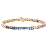 Gem Finds 14K Yellow Gold Multi Sapphire Bracelet