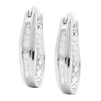 Clarity Diamonds Sterling Silver Diamond Hoop Earrings