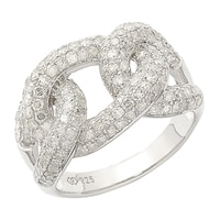 Clarity Diamonds Sterling Silver Interlocking Diamond Ring