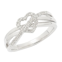 Clarity Diamonds Sterling Silver Diamond Heart Ring