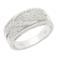 Clarity Diamonds Sterling Silver Diamond Crossover Interlocking Ring