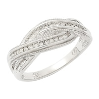 Clarity Diamonds Sterling Silver Diamond Crossover Ring