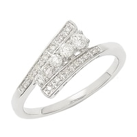 Clarity Diamonds Sterling Silver Diamond Bypass Ring