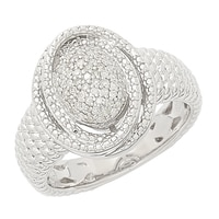 Clarity Diamonds Sterling Silver Pave Diamond Swirl Ring
