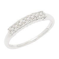 Clarity Diamonds Sterling Silver Double Row Diamond Band