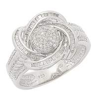 Clarity Diamonds Sterling Silver Diamond Halo Ring