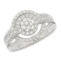 Clarity Diamonds Sterling Silver Diamond Cluster Halo Ring