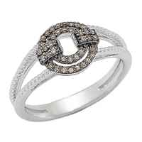 Clarity Diamonds Sterling Silver Sunset Diamond Ring