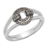 Bague ornée de diamants de couleur champagne sur argent sterling de Clarity Diamonds
