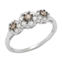 Clarity Diamonds Sterling Silver Multi Diamond 3 Across Cluster Ring