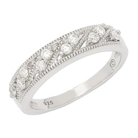 "Clarity Diamonds Sterling Silver Diamond ""S"" Band"