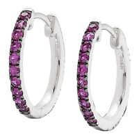 Clarity Diamonds Sterling Silver Diamond & Sapphire Reversible Hoop Earrings