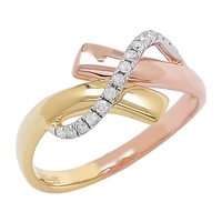 Clarity Diamonds Sterling Silver Two Tone Diamond Bypass Ring