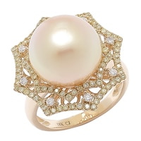 18K Yellow Gold South Sea Pearl & Multi Diamond Web Ring