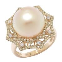 18K Yellow Gold South Sea Pearl & Multi Diamond Web Ring