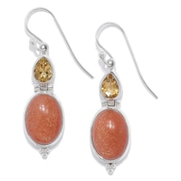 Himalayan Gems Sterling Silver Sunstone & Citrine Drop Earrings