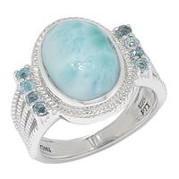 Bague en argent sterling et ornée d'un larimar et de topazes bleu suisse de Himalayan Gems
