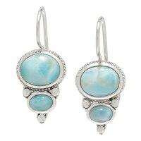 Himalayan Gems Sterling Silver Larimar & Pearl Drop Earrings