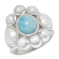 Himalayan Gems Sterling Silver Larimar & White Pearl Ring
