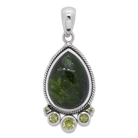Himalayan Gems Sterling Silver Chrome Diopside & Peridot Pendant