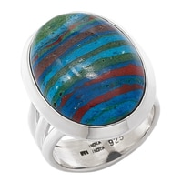 Himalayan Gems Sterling Silver Oval Rainbow Calsilica Ring