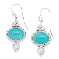 Himalayan Gems Sterling Silver Multi Gemstone Earrings