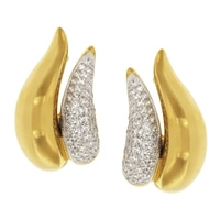 Boucles d'oreille à sertissage en pavé sur argent sterling plaqué or jaune 14 ct de la collection Toscana Diamonelle