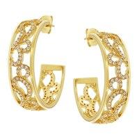 Toscana Diamonelle Sterling Silver Filigree Hoop Earrings
