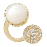 Toscana Diamonelle Sterling Silver 14K Yellow Gold Plated Pearl & Diamonelle Ring