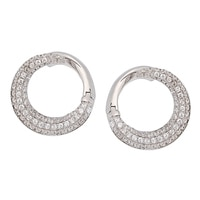 Toscana Diamonelle Sterling Silver Rhodium Plate Pave Set Earrings