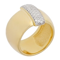 Toscana Diamonelle Sterling Silver 14K Yellow Gold Plate High Polished Band