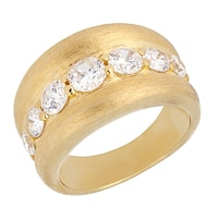 Toscana Diamonelle Sterling Silver 14K Yellow Gold Plate Satin Finish Ring