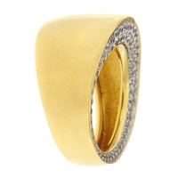 Toscana Diamonelle Sterling Silver 14K Yellow Gold Plate Ring