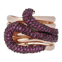 Toscana Diamonelle Sterling Silver 14K Rose Gold Plated Snake Ring