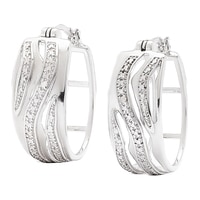 Silver Spectrum Sterling Silver Rhodium Plated Hoop Earrings