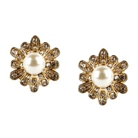 GLAMOUR Pearl Centre Floral Earrings