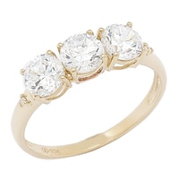 Diamonelle 10K Gold Trinity Ring