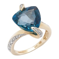 Gem RoManse 10K Yellow Gold London Blue Topaz & White Zircon Ring