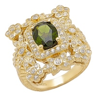 Generations 1912 Sterling Silver Chrome Diopside & White Sapphire Ring