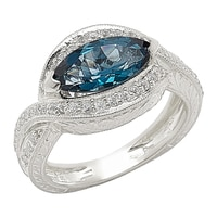 Generations 1912 Sterling Silver London Blue Topaz & White Sapphire Ring