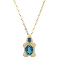 "Generations 1912 Sterling Silver London Blue Topaz & White Sapphire Pendant with 18"" Chain"