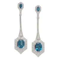 Generations 1912 Sterling Silver London Blue Topaz & White Sapphire Earrings