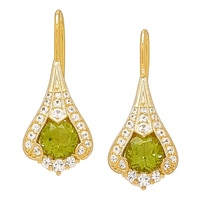Generations 1912 Sterling Silver Kashmir Peridot & White Sapphire Earrings