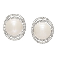 Imperial Pearls Sterling Silver Freshwater Pearl & White Topaz Earrings