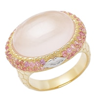 Sigal Style Sterling Silver Yellow Gold Plate Gemstone Ring