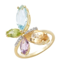 Sigal Style Sterling Silver Yellow Gold Plate Gemstone Butterfly Ring