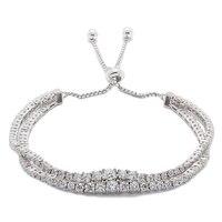 Bracelet ajustable à deux rangs et orné d'oxydes de zirconium cubiques en argent sterling rhodié de Sigal Style