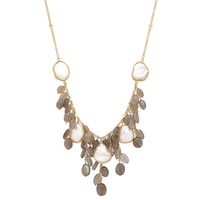 Piara Collection Sterling Silver 18K Yellow Gold Plate Labradorite & Pearl Necklace